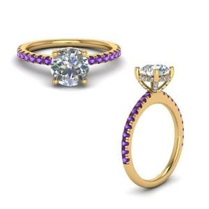 Violac Topaz Diamond Prong Round Petite Ring In 14K Yellow Gold