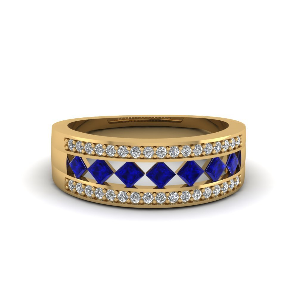 wedding band with blue sapphire