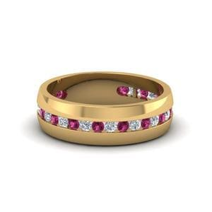 Pink Sapphire Mens Wedding Band