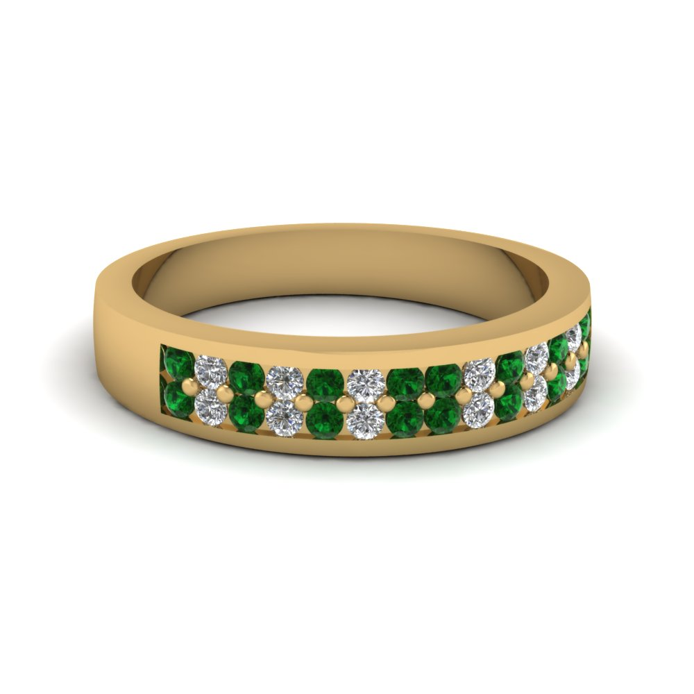 Double Row Diamond And Green Emerald Band