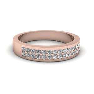 Wedding Band With White Diamond In 18K Rose Gold