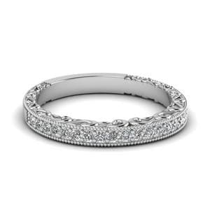 Milgrain Hand Engraved Diamond Wedding Band In 950 Platinum