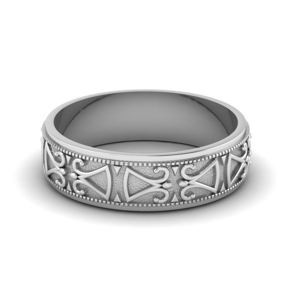 Antique Design Wedding Band In 14K White Gold