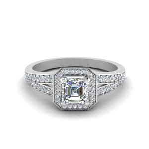 Pave Asscher Halo Diamond Engagement Ring In 14K White Gold