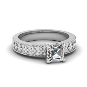 Floral Engraved Asscher Cut Solitaire Engagement Ring In 14K White Gold