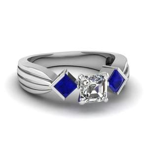 Half Bezel 3 Stone Asscher Cut Engagement Ring With Sapphire In 14K White Gold