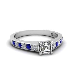 Pave Diamond Asscher Ring
