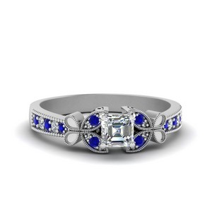 Vintage Butterfly Asscher Diamond Engagement Ring With Sapphire In 14K White Gold