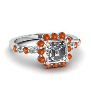 Floating Square Orange Sapphire Ring