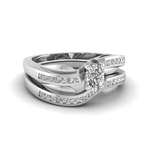 Petal Channel Set Cushion Diamond Wedding Ring Set In 14K White Gold