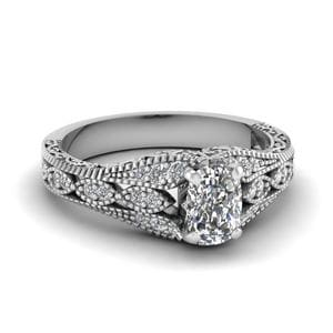 Antique Filigree Cushion Cut Diamond Ring In 18K White Gold