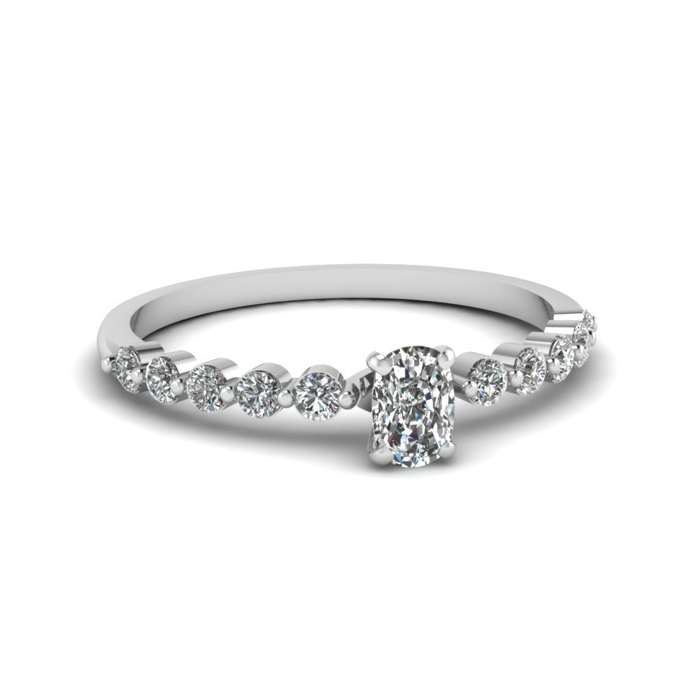 cushion cut petite floating diamond