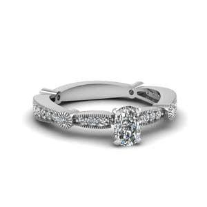 Cushion Cut Thin Band Ring