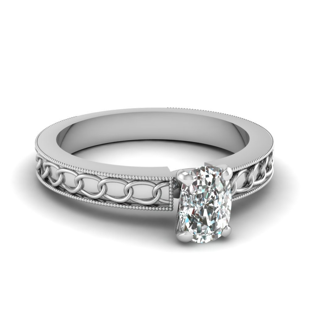 Interlocked Design Cushion Solitaire Engagement Ring In 14K White Gold