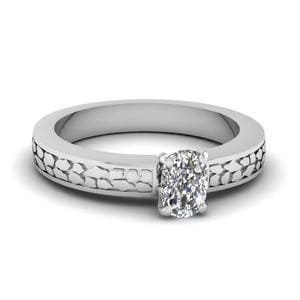 Cushion Cut Carved Solitaire Engagement Ring In 14K White Gold