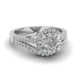 Platinum Halo Diamond Bridal Set