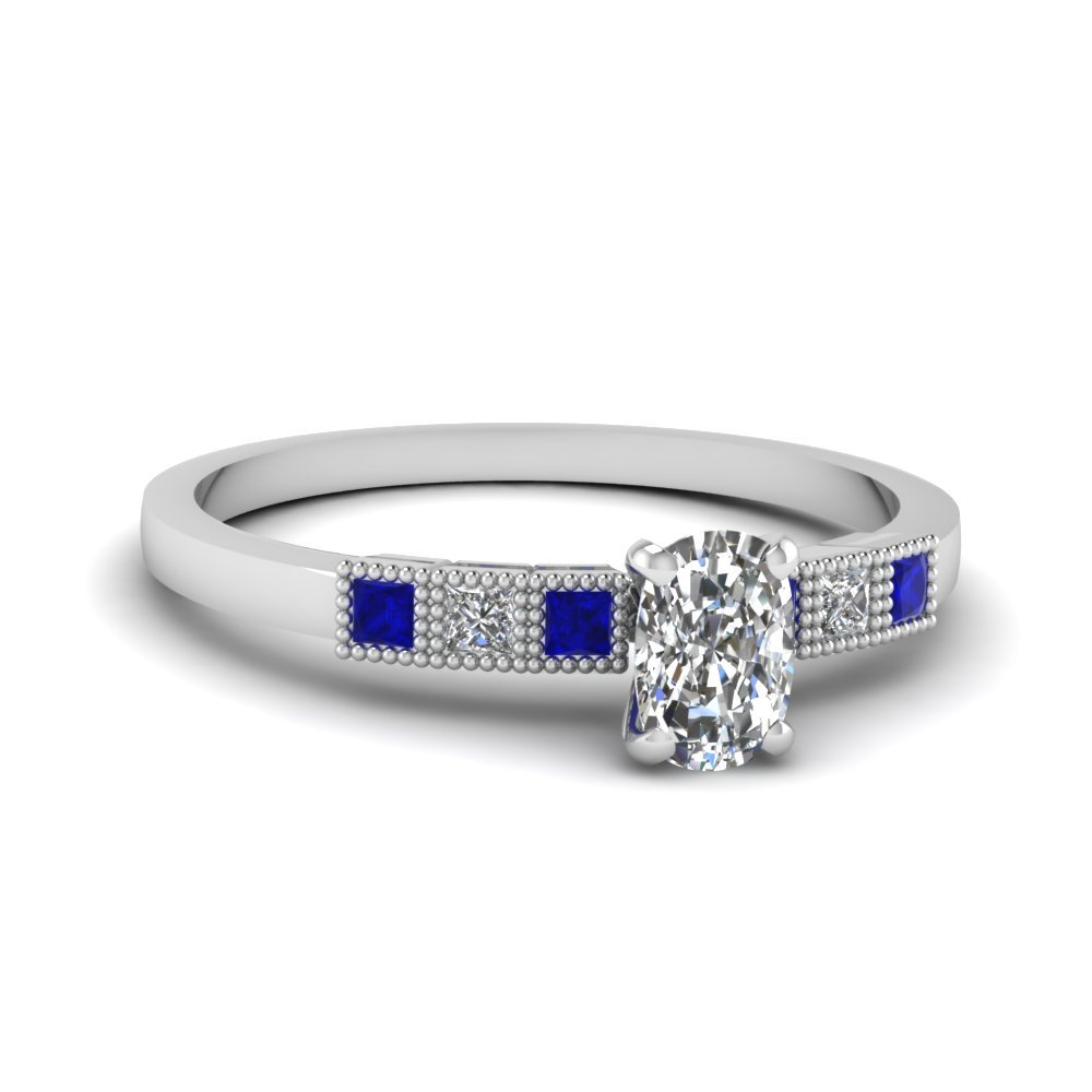 Milgrain Petite Cushion Diamond Engagement Ring With Sapphire In 14K White Gold