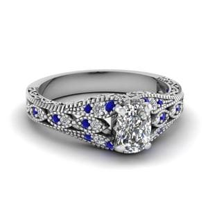 Filigree Sapphire Cushion Diamond Ring