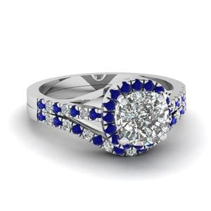 Sapphire Cushion Diamond Bridal Set