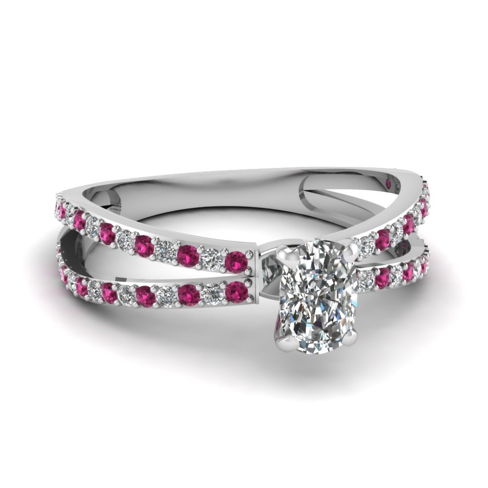 Reverse Split Shank Cushion Diamond Engagement Ring With Pink Sapphire In 14K White Gold