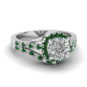 White Gold Emerald Halo Diamond Set