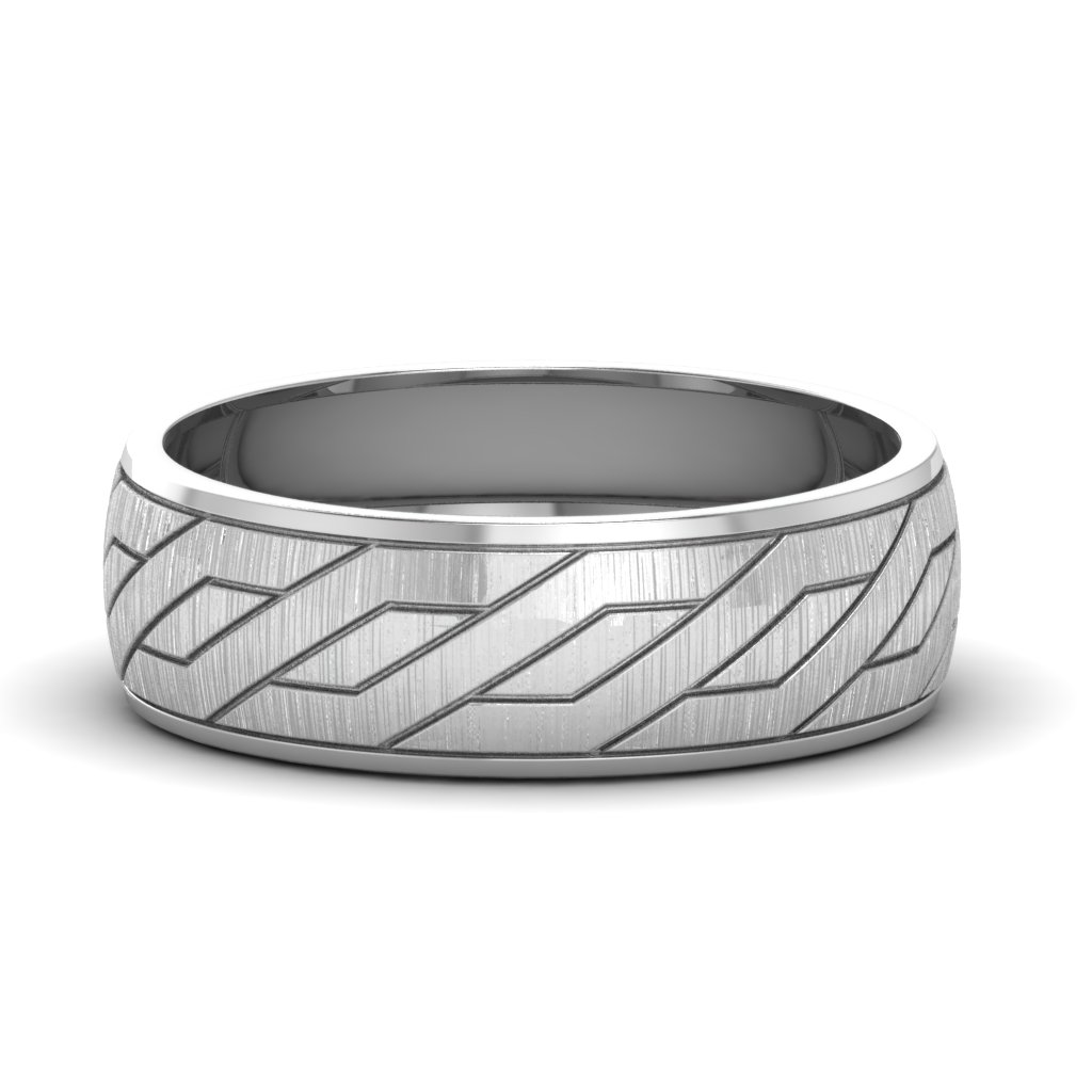 Engraved Platinum Wedding Ring Embossed Satin Band