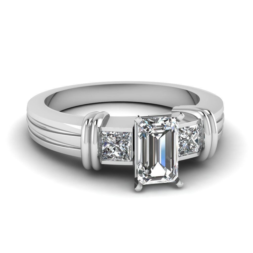 Bar 3 Stone Emerald Cut Engagement Ring In 14K White Gold