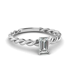 Emerald Cut Solitaire Braided Engagement Ring In 14K White Gold