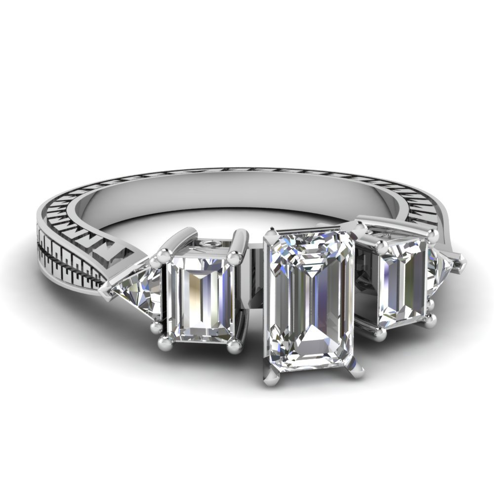 Engraved Trillion Diamond Engagement Ring