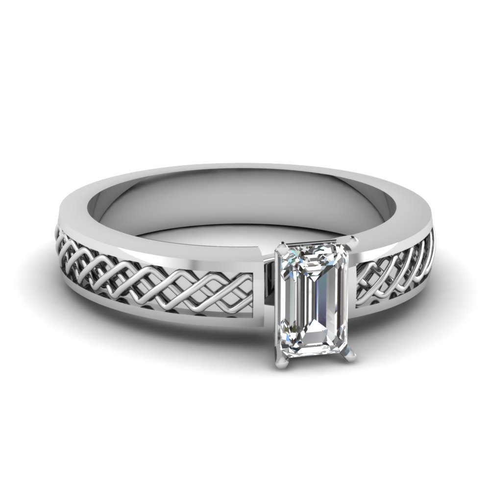 Criss Cross Emerald Cut Solitaire Engagement Ring In 14K White Gold