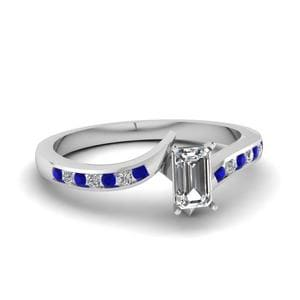 Twist Channel Emerald Cut Diamond Engagement Ring With Sapphire In 14K White Gold