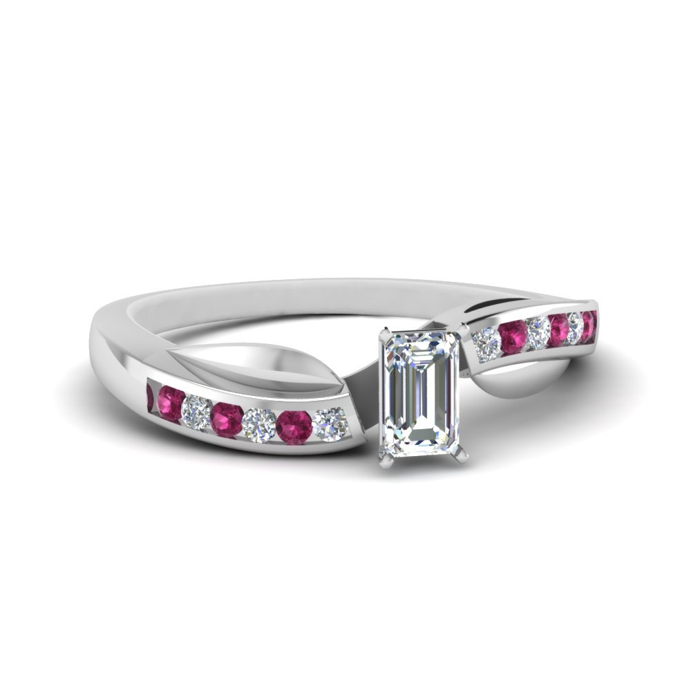 Petal Channel Set Emerald Cut Diamond Engagement Ring With Pink Sapphire In 14K White Gold