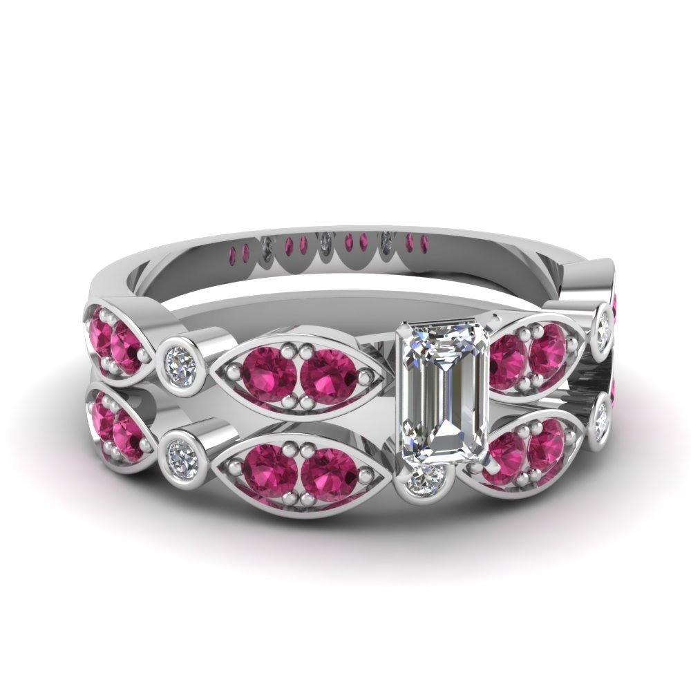 Art Deco Emerald Cut Diamond Wedding Ring Set With Pink Sapphire In 14K White Gold