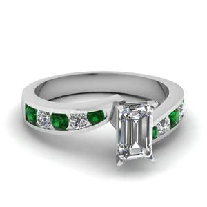 Emerald Cut Swirl Channel Set Ring