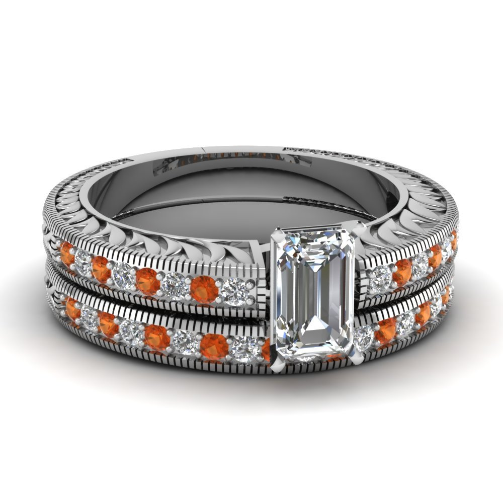 Hand Engraved Emerald Cut Vintage Wedding Ring Set With Orange Sapphire In 14K White Gold