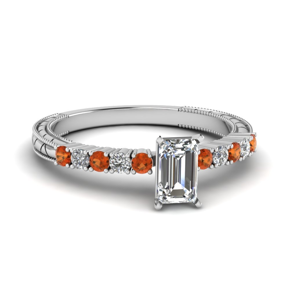 Petite Vintage Emerald Cut Diamond Engagement Ring With Orange Sapphire In 14K White Gold