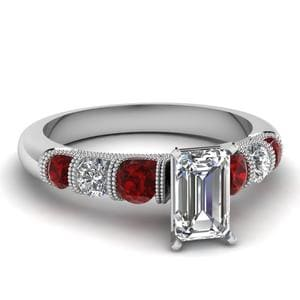 Platinum Milgrain Ruby Ring