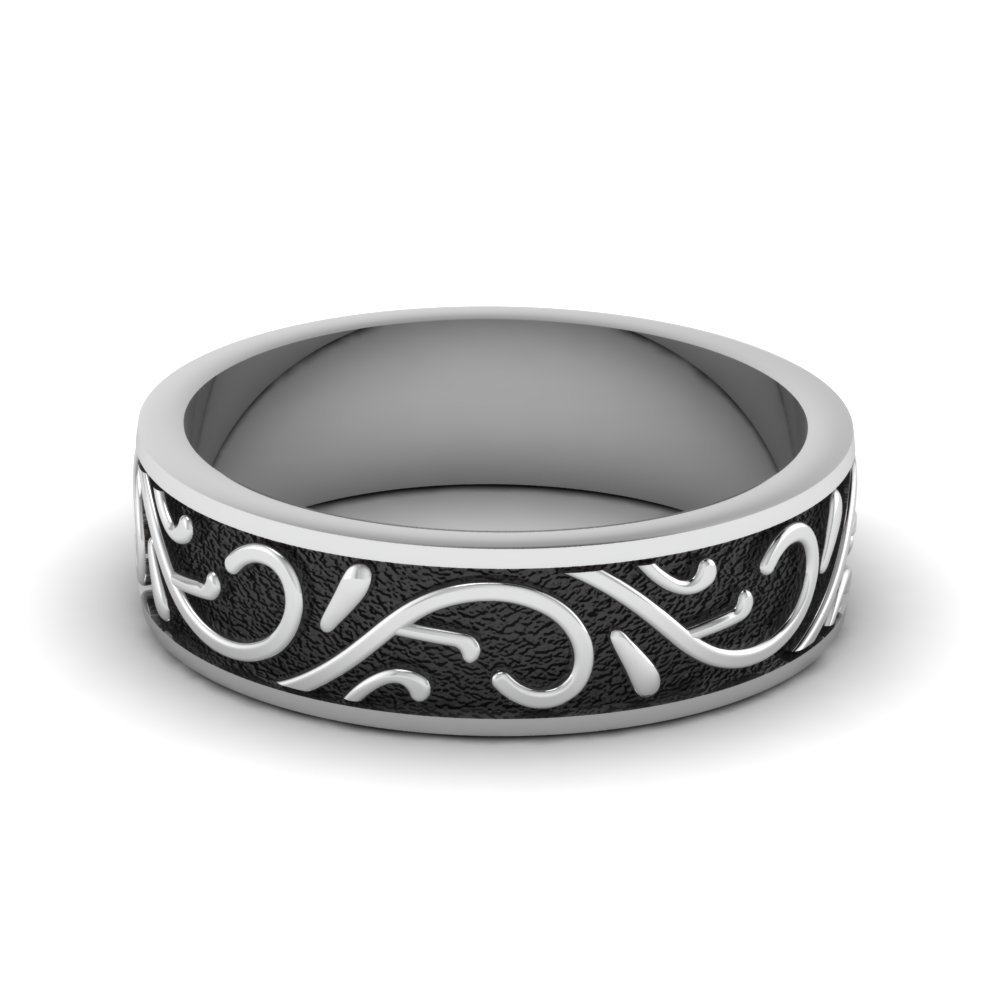 Black Engraved Mens Wedding Band In 14K White Gold