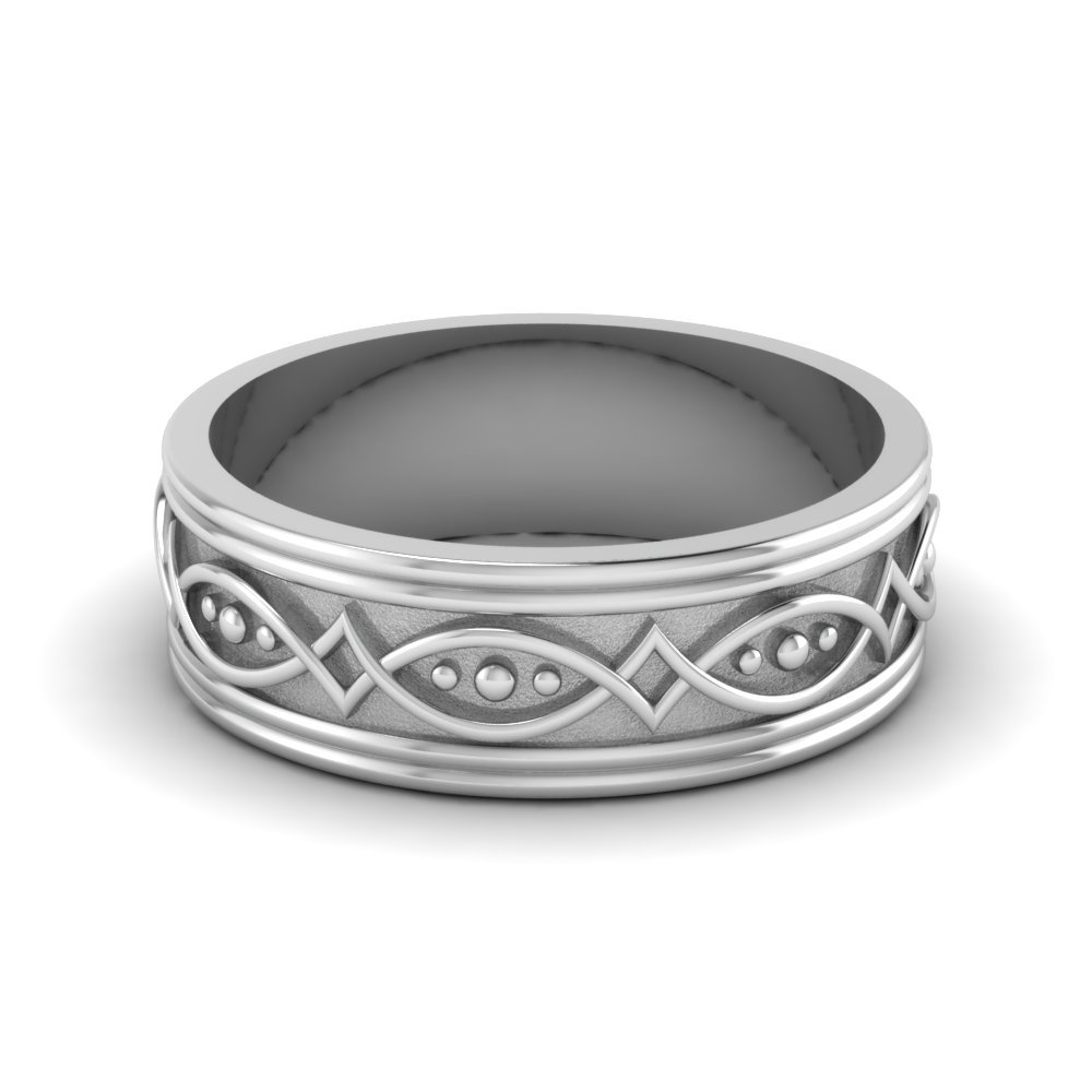 Art Deco Mens Wedding Band In 14K White Gold
