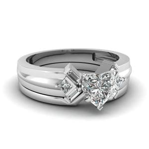 Heart Shaped Bar Baguette Diamond Bridal Set In 14K White Gold