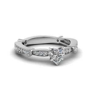 Platinum Heart Shaped Ring