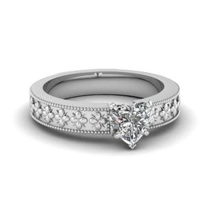 Floral Engraved Heart Shaped Solitaire Engagement Ring In 18K White Gold