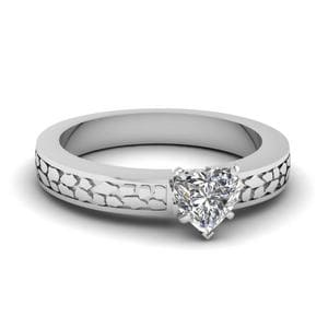 Carved Solitaire Diamond Ring