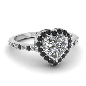 Platinum Halo Black Diamond Ring