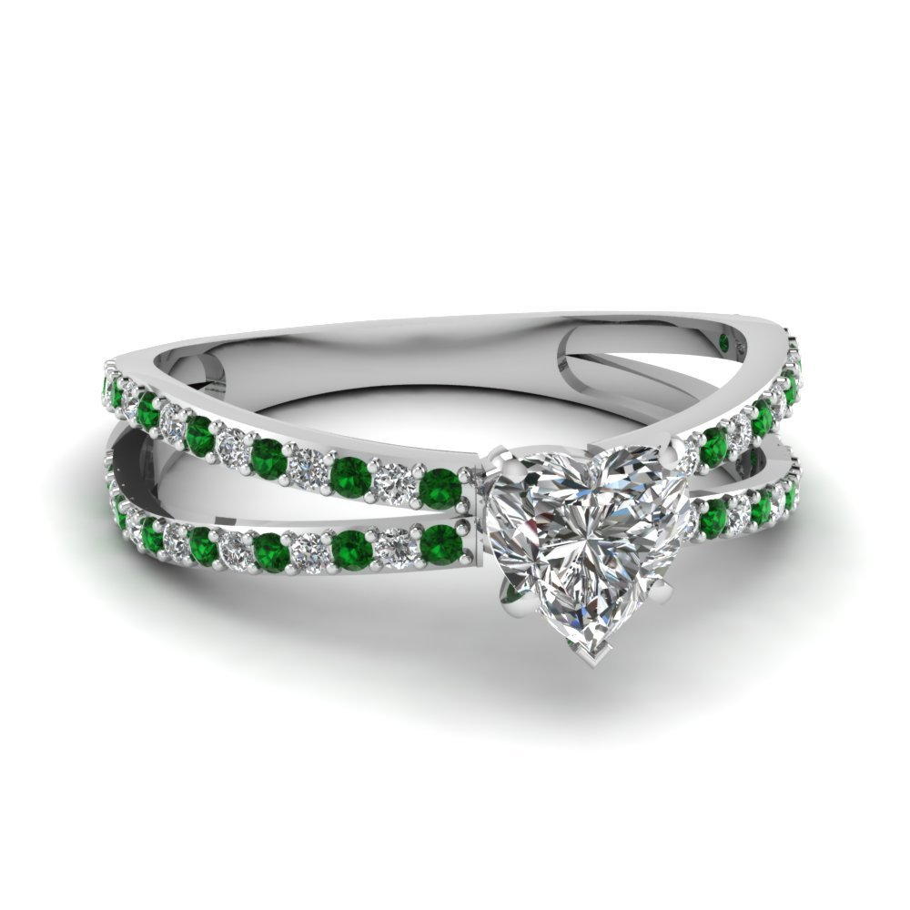Reverse Split Shank Heart Diamond Engagement Ring With Emerald In 18K White Gold