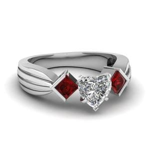 Half Bezel 3 Stone Heart Shaped Engagement Ring With Ruby In 18K White Gold