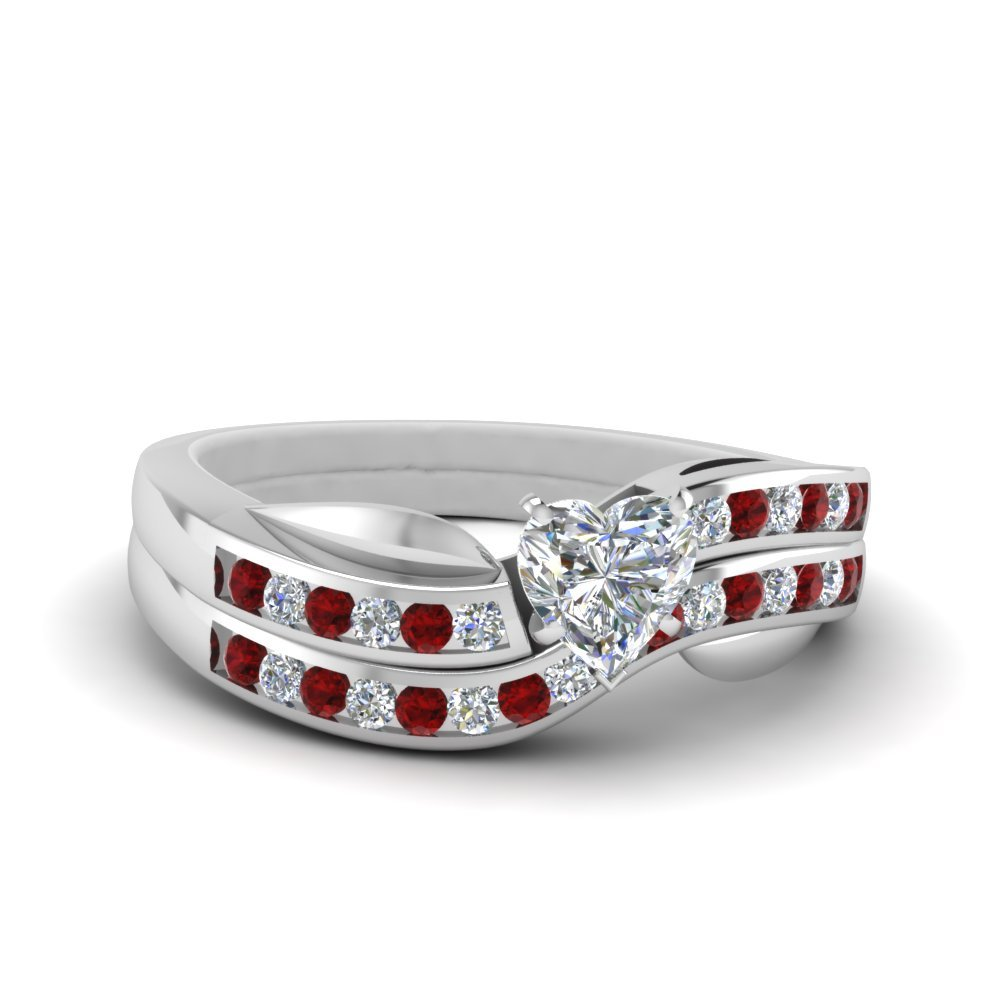 Petal Channel Set Heart Diamond Wedding Ring Set With Ruby In 14K White Gold