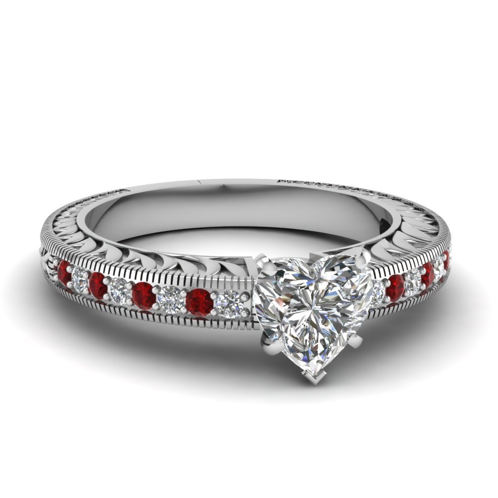 Hand Engraved Heart Shaped Vintage Engagement Ring With Ruby In 14K White Gold