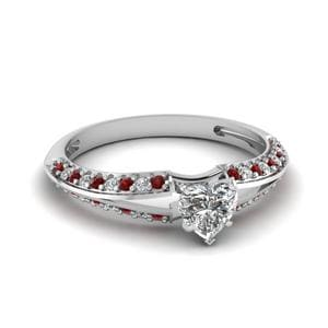 Delicate Split Heart Diamond Engagement Ring With Ruby In 14K White Gold