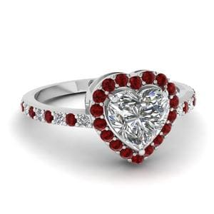 Petite Ruby Halo Diamond Ring